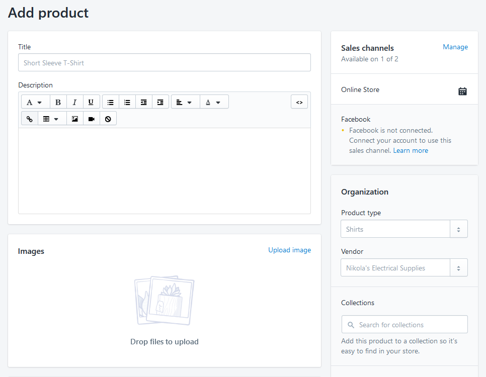 Adding a product in Shopify
