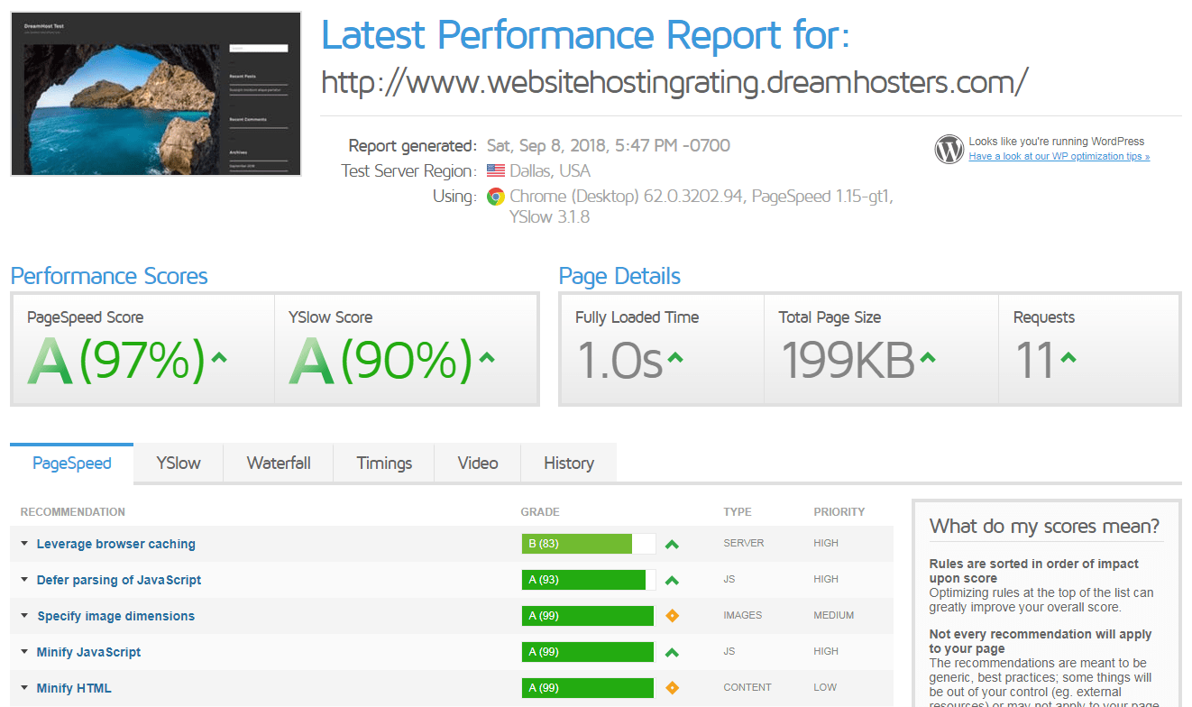 dreamhost load time speed