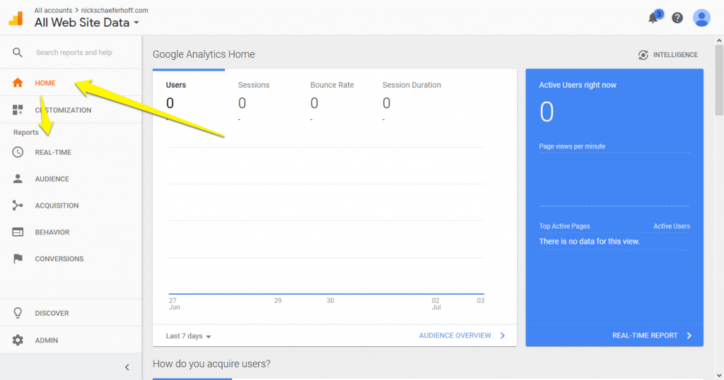 New Google Analytics account