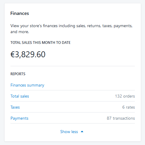 Shopify finance reports
