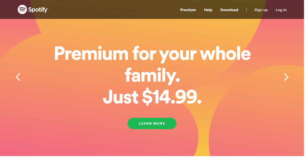 Spotify frontpage