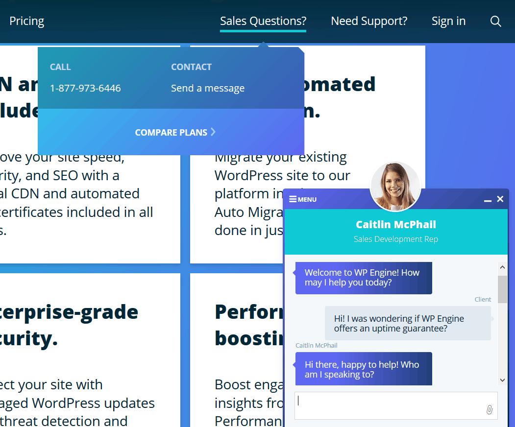wp engine chat support