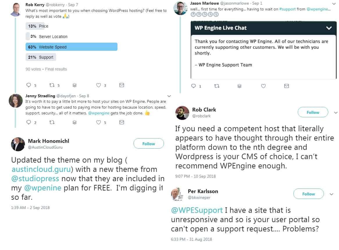 WP Engine reviews on Twitter